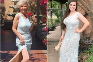 A 70-year-old woman 'ran away to Vegas' in her granddaughter's prom dress and married a man she met online