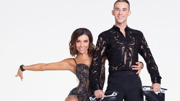 a man and a woman posing for a picture: Adam Rippon, Jenna Johnson (ABC/Craig Sjodin)