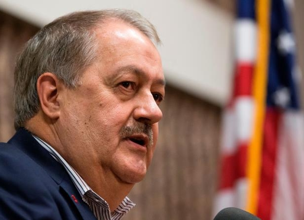 FILE - In this Jan. 18, 2018, file photo, former Massey CEO and West Virginia Republican Senatorial candidate, Don Blankenship, speaks during a town hall to kick off his campaign in Logan, W.Va. Voters in the heart of Trump country are ready to decide the fate of Republican Senate candidate Don Blankenship, a brash businessman with a checkered past who's testing the appeal of President Donald Trump's outsider playbook in one of the nation's premiere midterm contests. The West Virginia primary comes as voters across four states decide primary elections Tuesday in states Trump carried in 2016. In most cases, the candidates are jockeying to be seen as the most loyal to the president. (AP Photo/Steve Helber, File)