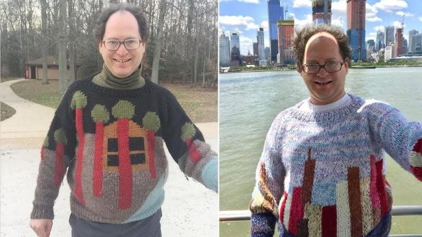 Man Knits Sweaters to Match the Scenery of His Vacation Spots