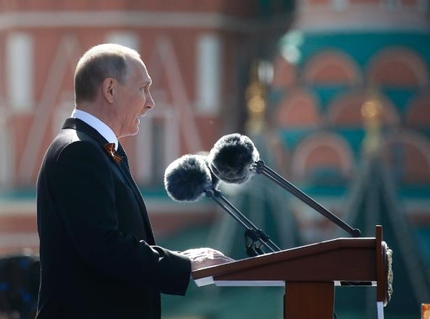 Russian President Vladimir Putin addresses the Victory Day military parade in Moscow's Red Square on the anniversary of the defeat of Nazi Germany in 1945.
