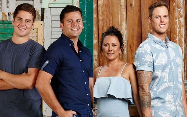 a group of people posing for a photo: Victorian couple Leigh and Kristie (left), have been accused of cheating by Queensland brothers Josh and Brandon.