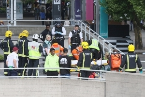 Man is stabbed in broad daylight just minutes before celebrities begin arriving on the red carpet for TV BAFTAs at London's Royal Festival Hall