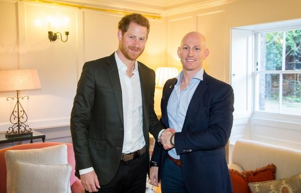 Prince Harry meets his friend, former Special Forces soldier, Dean Stott, at Kensington Palace, London, as he wishes him good luck