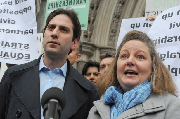 Rebecca Steinfeld and Charles Keidan lost their Court of Appeal fight to enter a civil partnership (Charlotte Ball/PA): Rebecca Steinfeld and Charles Keidan outside the Royal Courts of Justice, London, after they lost their Court of Appeal fight to enter a civil partnership (PA/Charlotte Ball)