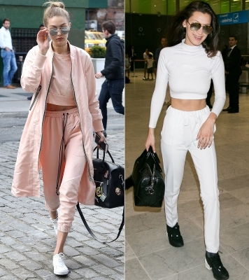 Crop Tops + Sweatpants: Gigi has long established sweatpants as her fashion identifier, and it looks like Bella has followed suit. They've both been snapped in their sweats, styled with midriff-baring tops in the same color (because we all know that monochromatism can give anything a tiny boost in sophistication).