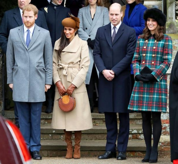 Slide 16 of 21: The future royal family member looked gorgeous as she stepped out with fiancé Harry, his brother Prince William and Duchess Kate for the annual royal Christmas church service at Sandringham in December 2017.