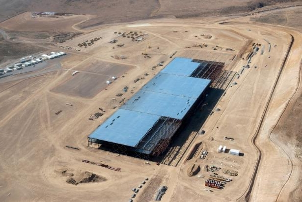 a close up of a device: The Tesla Gigafactory is shown under construction outside Reno, Nevada May 9, 2015.