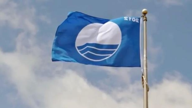 a close up of a logo: Only 26 other Canadian beaches get to fly a blue flag for meeting strict water quality standards.