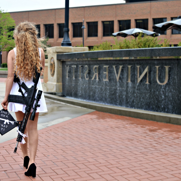 A Kent State graduate wore a gun holster around her body and a picture of a gun on her graduation cap in viral photos: screen-shot-2018-05-16-at-11-00-46-am.png