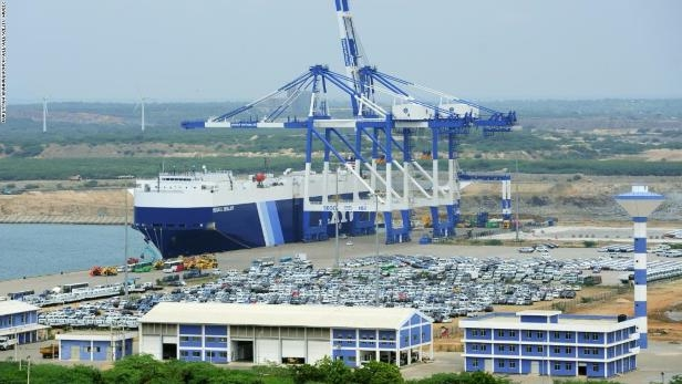 In this photograph taken on February 10, 2015, shows a general view of the port facility at Hambantota.