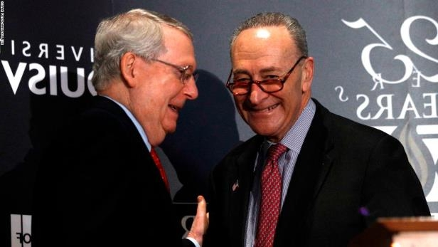 LOUISVILLE, KY - FEBRUARY 12: U.S. Senate Majority Leader Mitch McConnell (right) (R-KY) and U.S. Senate Democratic Leader Chuck Schumer (D-NY) shake hands after Shumer delivered a speech and answered questions at the University of Louisville's McConnell Center February 12, 2018 in Louisville, Kentucky. Sen. Schumer spoke at the event as part of the Center's Distinguished Speaker Series, and Sen. McConnell introduced him. (Bill Pugliano/Getty Images)