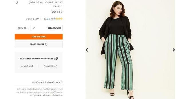 New Look's green stripe plus-size trousers cost £22.99 - compared with £19.99 for standard-size - plus-size pictured