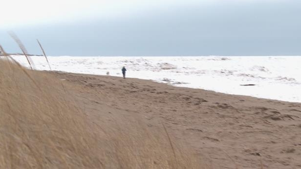 people walking on a beach: The water quality has been improved at Aboiteau Beach in order to meet Blue Flag standards.