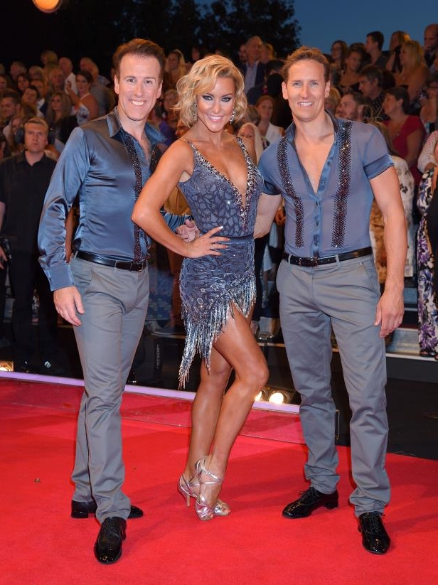 BOREHAMWOOD, ENGLAND - AUGUST 30:  (L-R) Brendan Cole, Natalie Lowe and Anton du Beke arrive for the Red Carpet Launch of 'Strictly Come Dancing 2016' at Elstree Studios on August 30, 2016 in Borehamwood, England.  (Photo by Karwai Tang/WireImage)