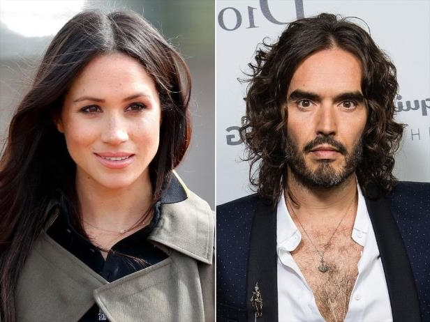 Russell Brand, Meghan Markle are posing for a picture: Russell Brand and Meghan Markle