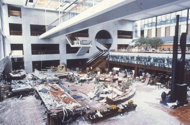 Slide 2 of 13: The wreckage of two catwalks is scattered through the lobby of the Kansas City Hyatt Regency Hotel, July 19, 1981, after a collapse on Friday night. A fourth floor walkway fell on to the second floor walkway, then both crashed onto a crowded dance floor in the lobby, killing over 100 people and injuring many more.