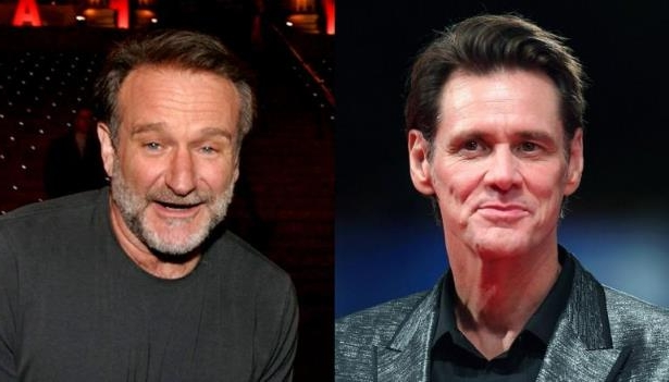 Jim Carrey, Robin Williams are posing for a picture