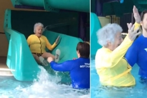 93-Year-Old Michigan Woman Battles Fear of Water By Riding Giant Slide at Her YMCA