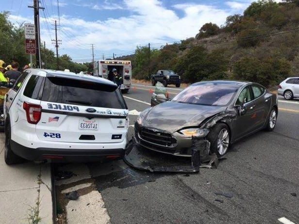 e2b30f45b5 Image  Autopiloted Tesla car involved in accidentA Tesla Model S car  collided with a parked