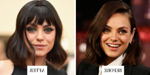 Mila Kunis: When: May 21, 2018What:  Choppy BangsWhy we love it: Mila Kunis debuted a set of choppy bangs at the Billboard Music Awards last night. We love how the fringe accentuates her big, hazel eyes and adds new life to her chic lob haircut.