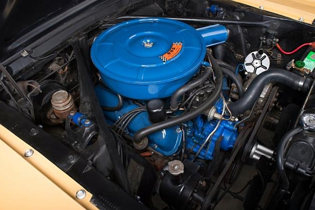 Slide 5 of 26: sonny-cher-ford-mustang-engine-view-his.jpg