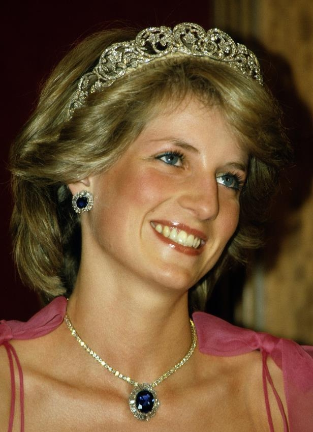 Princess Diana, wearing the Spencer family tiara and diamond and sapphire jewels given to her by the Crown Prince of Saudi Arabia.