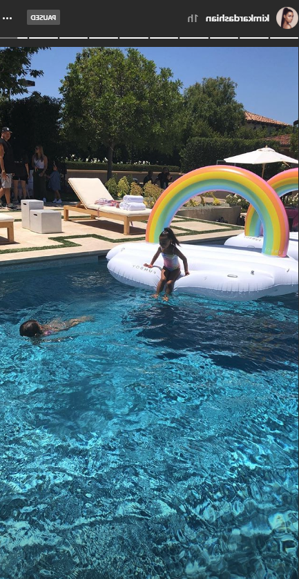 a swimming pool: North West and Penelope Disick's birthday party.