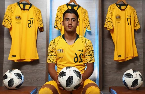 Daniel Arzani of Australia poses during the Australian Socceroos Portrait Session.