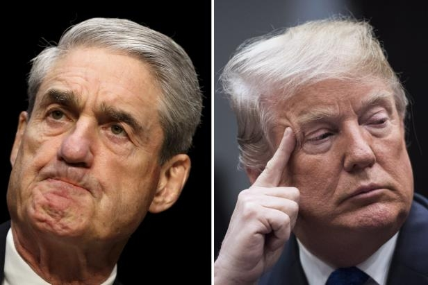 Donald Trump, Robert Mueller are posing for a picture: Left, President Donald Trump at the White House on Jan. 04, 2018. Robert Mueller on Capitol Hill in 2013.