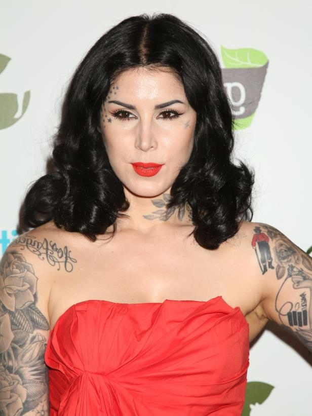 Kat Von D in a red shirt: Kat Von D attends Farm Sanctuary's 30th Anniversary Gala in Los Angeles on Nov. 12, 2016.