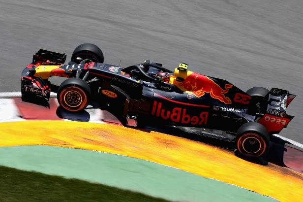 Max Verstappen of the Netherlands driving the (33) Aston Martin Red Bull Racing RB14 TAG Heuer on track during final practice for the Canadian Formula One Grand Prix at Circuit Gilles Villeneuve on June 9, 2018 in Montreal, Canada