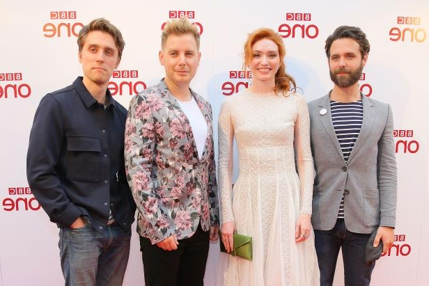 CAPE CORNWALL, ENGLAND - JUNE 05:  Luke Norris, Eleanor Tomlinson, Christian Brassington and Jack Farthing  during a photocall for 'Poldark' at Regal Cinema Redruth on June 5, 2018 in Cape Cornwall, England.  (Photo by Matt Keeble/Getty Images)