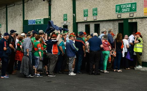 Limerick , Ireland - 9 June 2018; Supporters make their way through the turnstiles prior to the GAA Football All-Ireland Senior Championship Round 1 match between Limerick and Mayo at the Gaelic Grounds in Limerick. (Photo By Diarmuid Greene/Sportsfile via Getty Images)