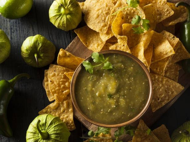 Homemade Salsa Verde with Cilantro and Tortilla Chips: Salsa verde with tortilla chips. Photo, iStock.