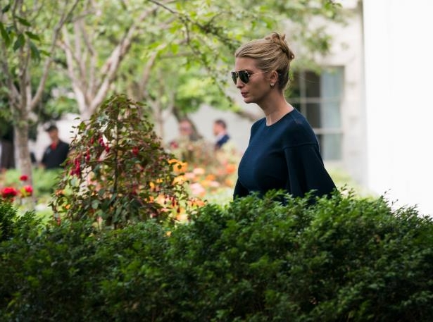 a man standing in front of bushes: Ivanka Trump at the White House last week.