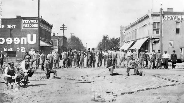 in 1912, the original Main Street USA in Marceline, also known as Kansas Avenue was converted from dirt to brick.