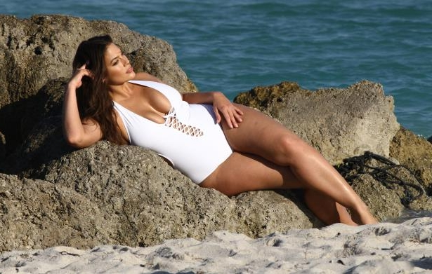 Slide 37 of 67: Ashley Graham modeled a swimsuit during a photoshoot on a Miami beach on March 14.