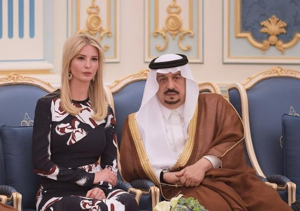 Ivanka Trump sits next to Prince Faisal bin Bandar, the governor of the Saudi capital Riyadh, during a ceremony where her father US President Donald Trump received the Order of Abdulaziz al-Saud medal from Saudi Arabia's King Salman bin Abdulaziz al-Saud at the Saudi Royal Court in Riyadh on May 20, 2017. / AFP PHOTO / MANDEL NGAN        (Photo credit should read MANDEL NGAN/AFP/Getty Images)