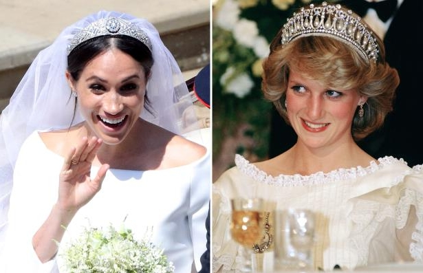 Slide 1 of 25: NEW ZEALAND - APRIL 30: Diana, Princess of Wales attending a banquet at the Sheraton Hotel in Auckland, New Zealand (Photo by Tim Graham/Getty Images); Meghan Markle leaves St George's Chapel in Windsor Castle after her wedding. Saturday May 19, 2018. Andrew Matthews/Pool via REUTERS