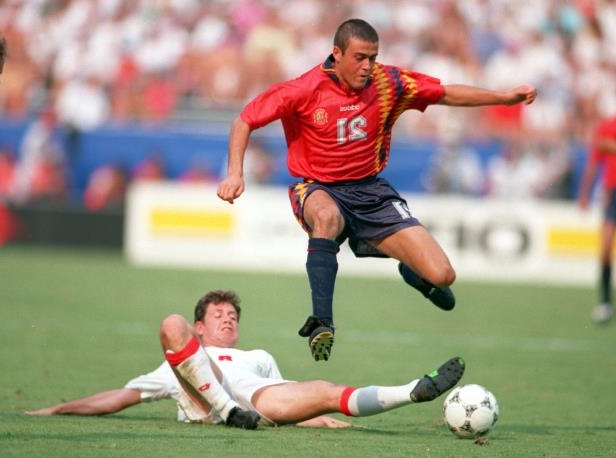 Slide 14 of 24: 2 JUL 1994: CHRISTOPHE OHREL OF SWITZERLAND, BOTTOM, AND LUIS ENRIQUE OF SPAIN IN ACTION DURING THE 1994 WORLD CUP MATCH SWITZERLAND V SPAIN IN WASHINGTON D.C. Mandatory Credit: Simon Bruty/ALLSPORT