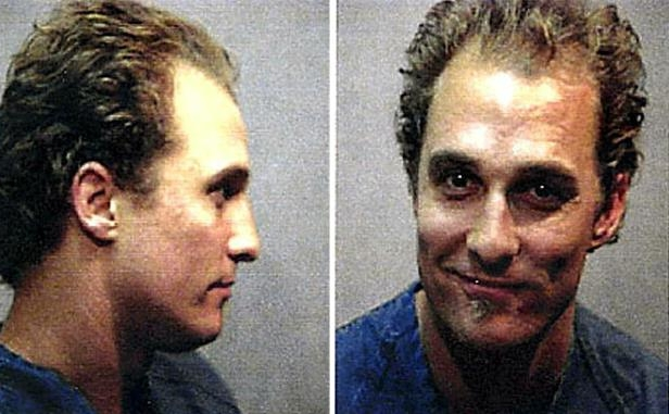 Slide 36 of 59: We wonder if Matthew McConaughey still had the munchies when he posed for his mug shot after he was taken into custody for marijuana possession and resisting arrest in Austin, Texas, in October 1999.