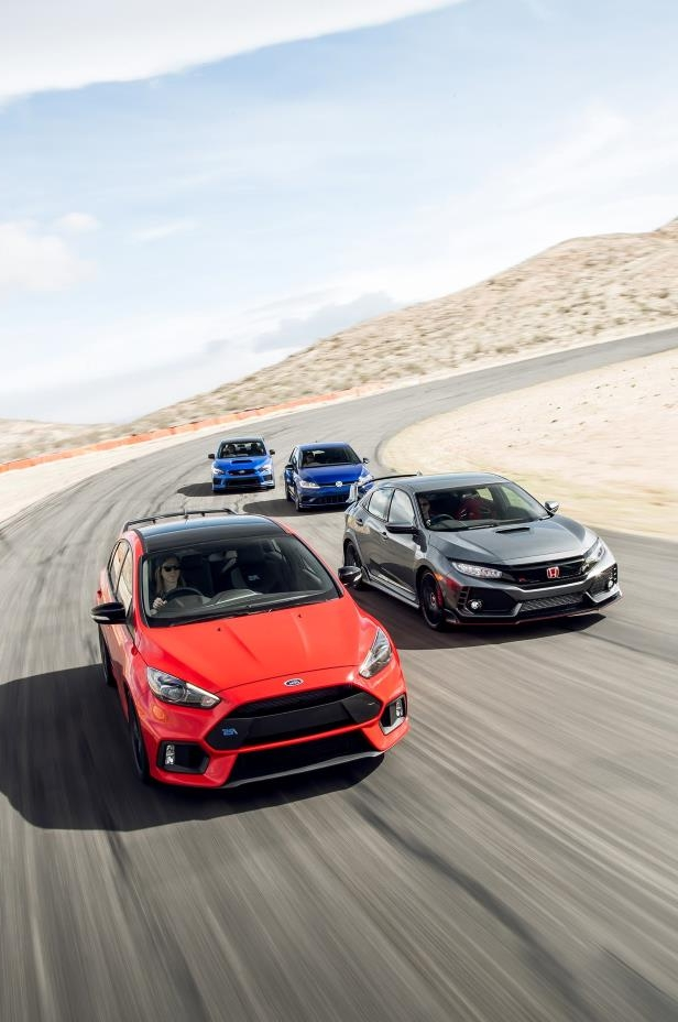 Slide 37 of 94: 2018-Subaru-WRX-STI-Type-RA-2018-Volkswagen-Golf-R-2018-Ford-Focus-RS-2018-Honda-Civic-Type-R-02.jpg