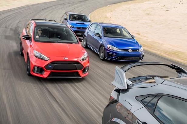 Slide 5 of 94: 2018-Subaru-WRX-STI-Type-RA-2018-Volkswagen-Golf-R-2018-Ford-Focus-RS-2018-Honda-Civic-Type-R-06.jpg