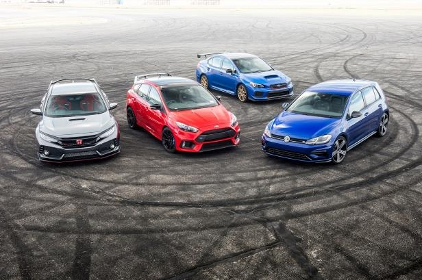 Slide 78 of 94: 2018-Subaru-WRX-STI-Type-RA-2018-Volkswagen-Golf-R-2018-Ford-Focus-RS-2018-Honda-Civic-Type-R-group-tire-marks.jpg