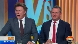 a person wearing a suit and tie: 'You're hard to sit next to. You give Panadeine Forte a headache': Moody Tim Gilbert made a brutal on-air remark to Richard Wilkins on the Today show on Thursday