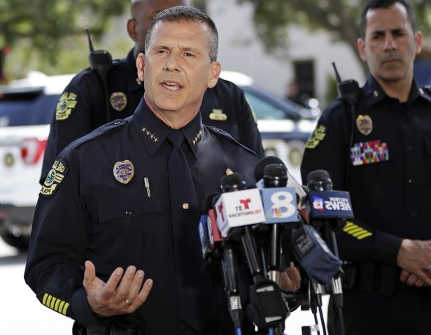 Orlando Police Chief John Mina answers questions  (AP Photo/John Raoux)