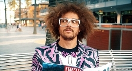 Redfoo wearing sunglasses: What happened to Redfoo? The eccentric entertainer and former X Factor Australia judge has traded his Party Rocker roots for a vegan lifestyle and a new career path