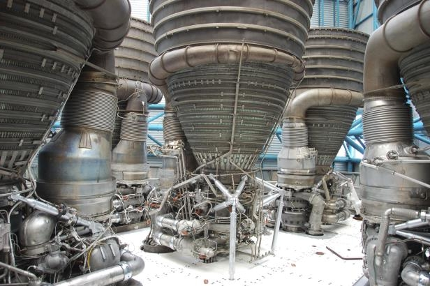 Slide 13 of 16: Apollo/Saturn V Engines in the Kennedy Space Center, Florida