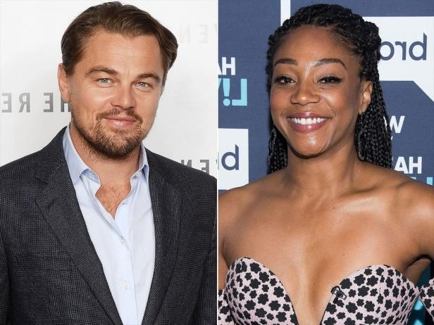 Tiffany Haddish, Leonardo DiCaprio posing for the camera